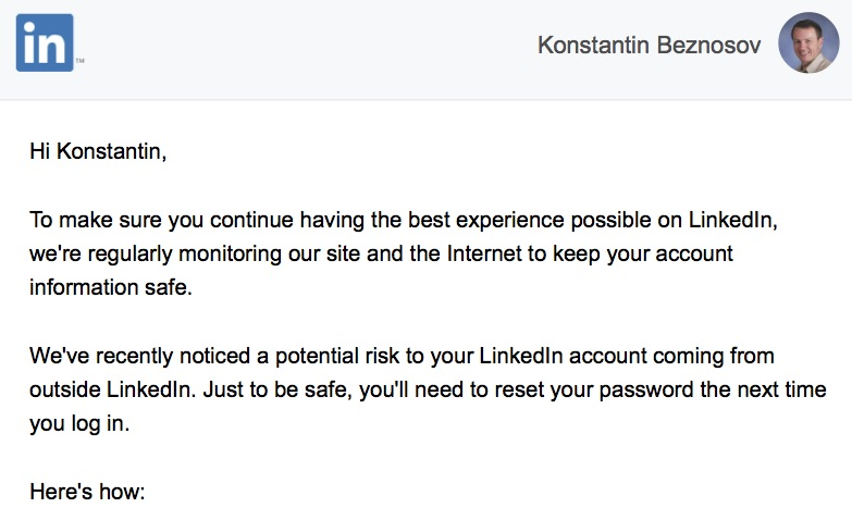I'm too Busy to Reset my LinkedIn Password"